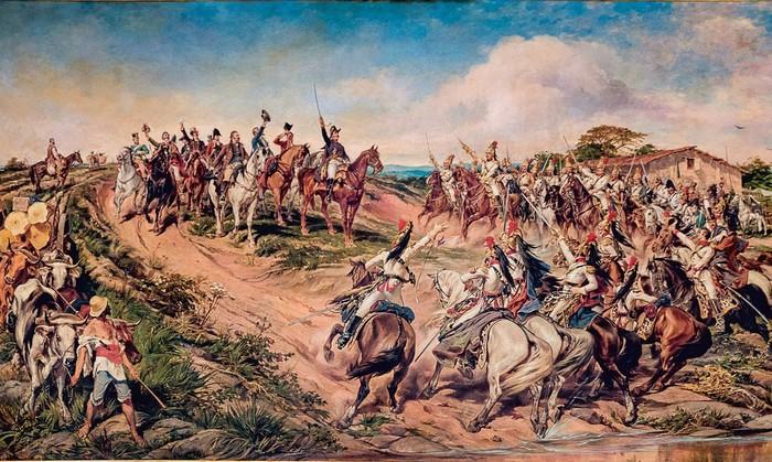 O quadro de Pedro Américo (em destaque) é uma metáfora sobre o dia do Grito do Ipiranga. A pintura, feita em 1888, chama-se Independência ou Morte e está exposta no Museu do Ipiranga (SP).
